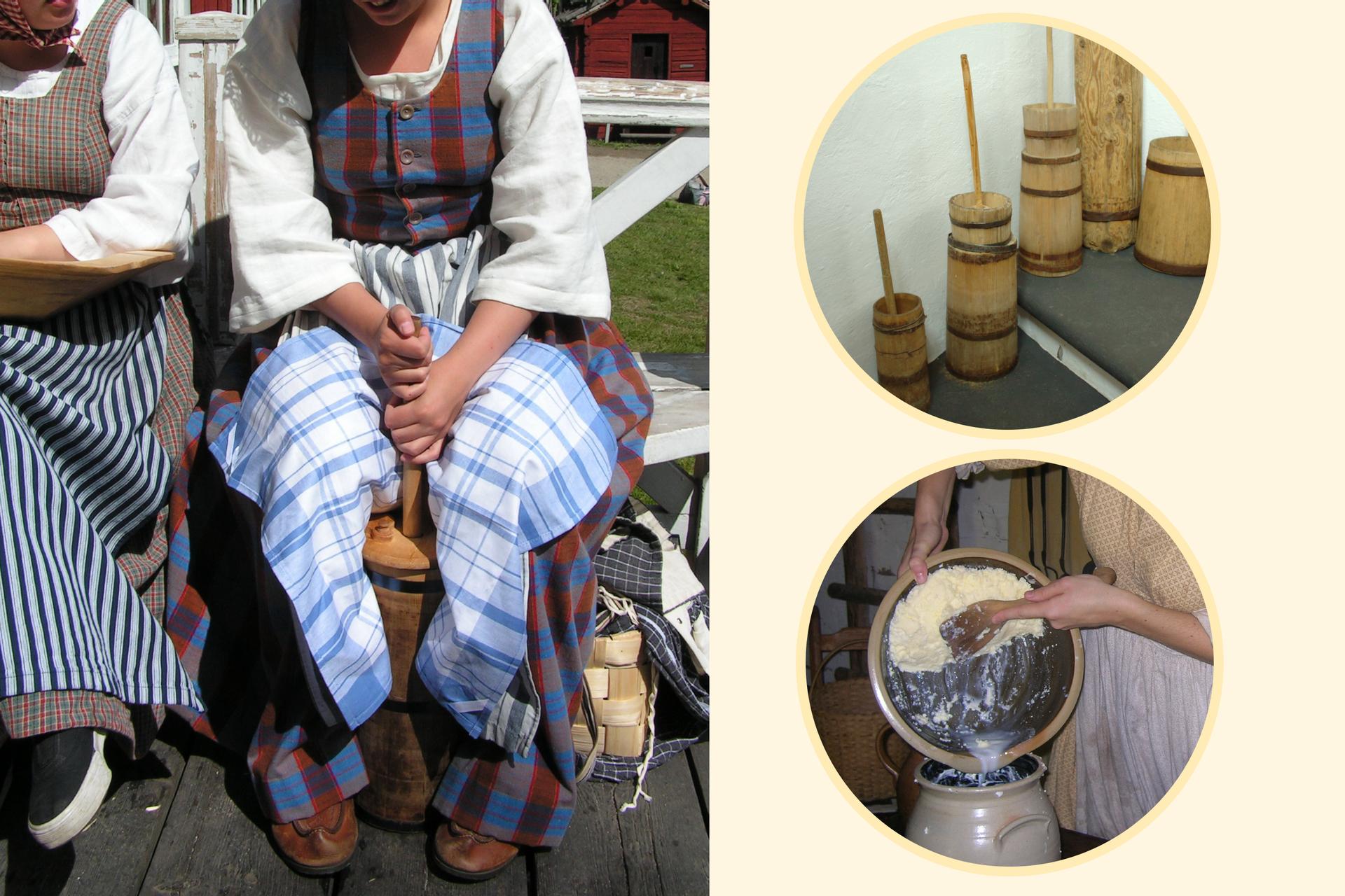Kolaż prezentujący tradycyjny sposób ubijania masła. Widać maselnicę oraz wygarnianie masła już po ubiciu.