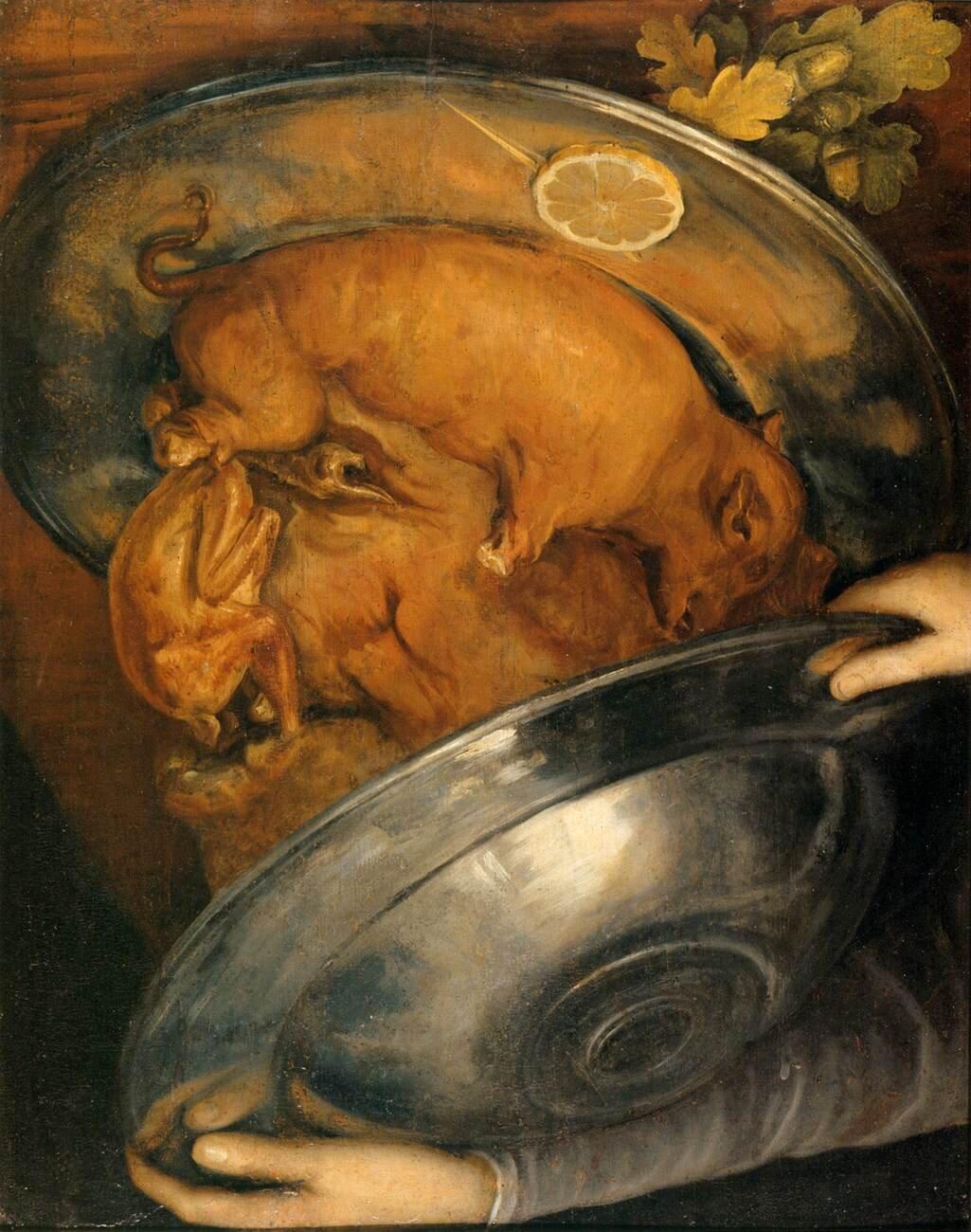 Kucharz (obiad) Źródło: Giuseppe Arcimboldo, Kucharz (obiad), ok. 1570, olej na desce, Muzeum Narodowe wSztokholmie, domena publiczna.