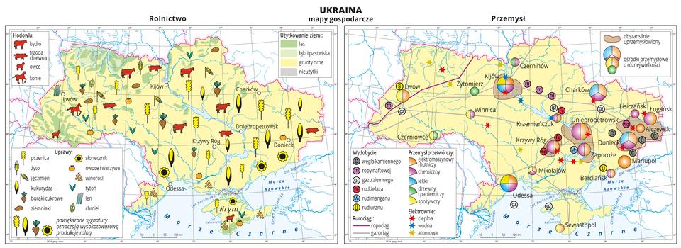 Ilustracja przedstawia dwie mapy gospodarcze Ukrainy. Mapa pierwsza – rolnictwo, mapa druga – przemysł. Na mapie rolnictwa tło wkolorze żółtym (grunty orne), jasnozielonym (łąki ipastwiska), zielonym (lasy) iszarym (nieużytki). Na mapie sygnatury obrazujące uprawy roślin (pszenica, żyto, jęczmień, kukurydza, buraki cukrowe, ziemniaki, słonecznik, owoce iwarzywa, winorośl, tytoń, len, chmiel) oraz hodowlę zwierząt (bydło, trzoda chlewna, owce ikonie). Powiększone sygnatury na wschodzie kraju oznaczają wysokotowarową produkcję rolną. Na mapie przemysłu sygnatury kołowe – ośrodki przemysłowe. Duże: Donieck, Dniepropetrowsk, Odessa, Kijów, kilkanaście mniejszych. Przemysł elektromaszynowy ihutniczy oraz chemiczny wprzewadze, lekki drzewny ipapierniczy oraz spożywczy. Kilka elektrowni cieplnych, wodnych iatomowych oznaczonych kolorowymi gwiazdkami, ropociąg igazociąg oznaczone liniami. Sygnaturami oznaczone wydobycie węgla kamiennego, ropy naftowej, gazu ziemnego rud żelaza, manganu iuranu. Większość przemysłu iwydobycia skupiona jest na wschodzie kraju. Kolorem brązowym oznaczono obszary silnie uprzemysłowione. Obejmują one duże miasta. Obie mapy zawierają południki irównoleżniki, dookoła map wbiałych ramkach opisano współrzędne co dwa stopnie.