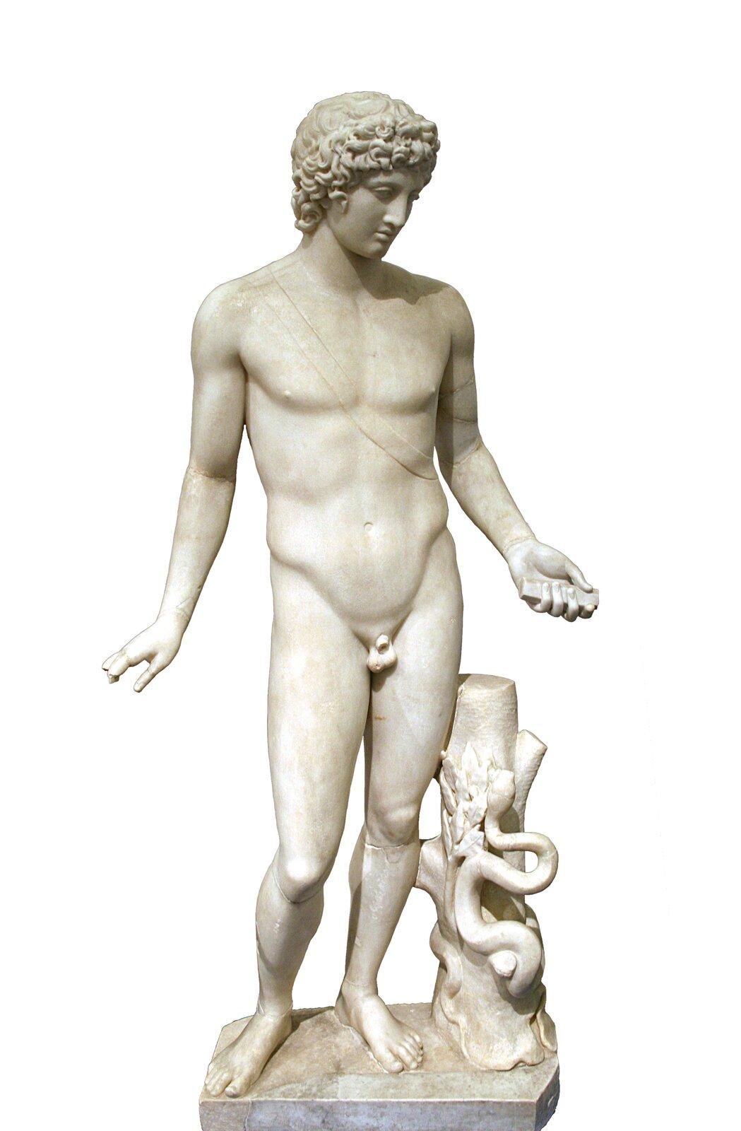 Apollo To kopia rzeźby zII w. n.e. przedstawiającej Apolla, znajdująca się wMuzeum Narodowym wRzymie. Przyglądając się dziełu, opisz, wjaki sposób autor rzeźby ukazałApolla. Źródło: Apollo, Muzeum Narodowe wRzymie, licencja: CC BY-SA 3.0.