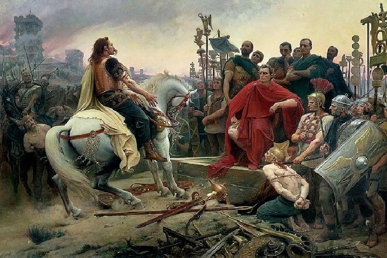 Wcentrum ilustracji widnieje Wercyngetoryks, wódz Gallów, na białym koniu. Za nim stoi gromada jego żołnierzy. Po prawej stronie, na podwyższeniu siedzi Juliusz Cezar, ubrany wczerwoną długą szatę. Za nim stoi jego armia ze znakami bojowymi. Wprawym dolnym rogu obrazu, ustóp Cezara, klęczy skuty więzami żołnierz Wercyngetoryksa; za nim stoją dwaj zbrojni legioniści rzymscy. Jeden znich trzyma broń sieczną na szyi klęczącego. Wercyngetoryks wyciąga do Cezara ręce wgeście błagalnym.
