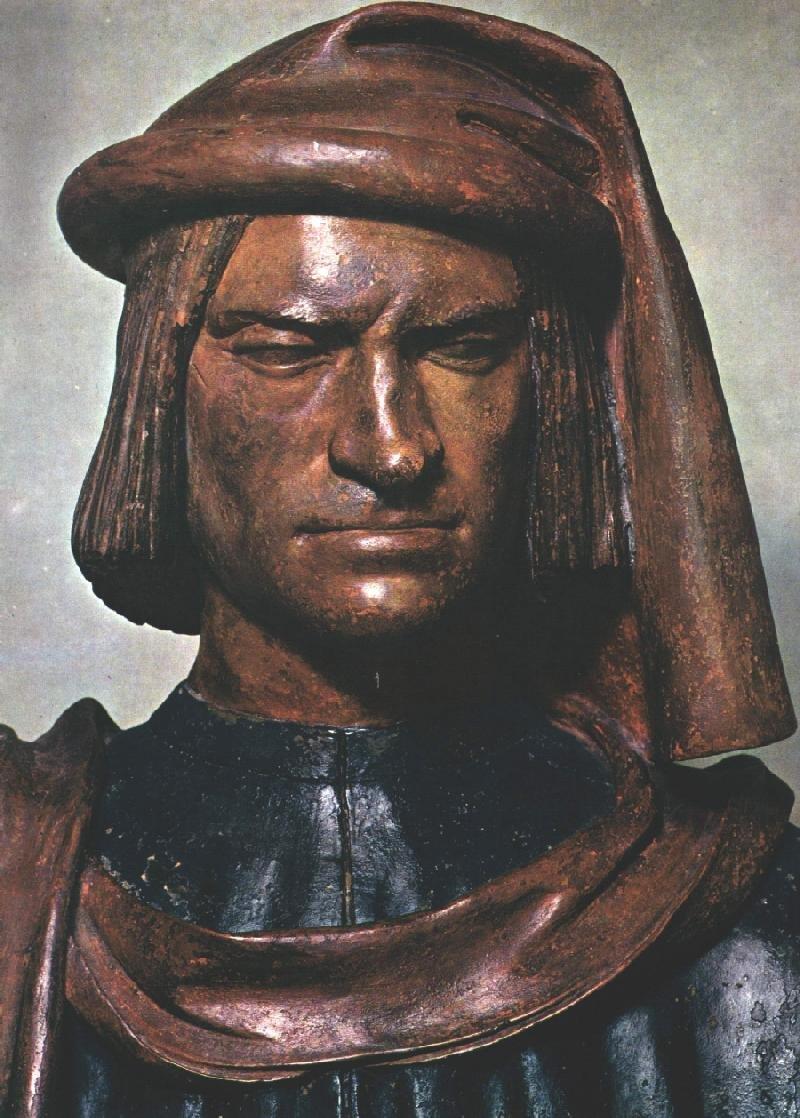 Wawrzyniec Wspaniały – władca (niemal książę), mecenas Źródło: Andrea del Verrocchio, Wawrzyniec Wspaniały – władca (niemal książę), mecenas, 1480, malowana terakota, Muzeum wWaszyngtonie, domena publiczna.