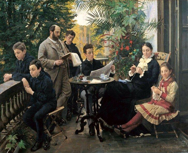 Rodzina Źródło: Peder Severin Krøyer, Rodzina, 1881, olej na płótnie, Hirschsprung Collection, domena publiczna.