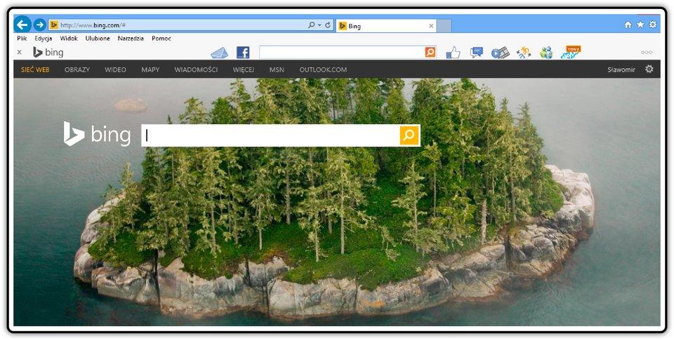 Zrzut okna startowego wyszukiwarki Bing