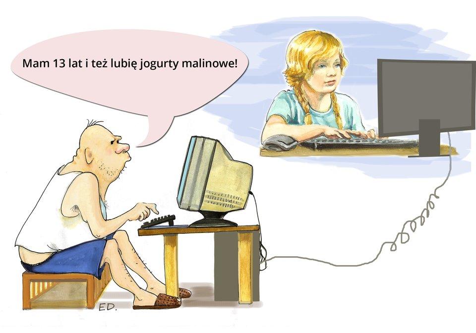 Ilustracja przedstawiająca dziewczynkę, która kontaktuje się za pośrednictwem Internetu zdorosłą osobą podającą się za jej rówieśnika