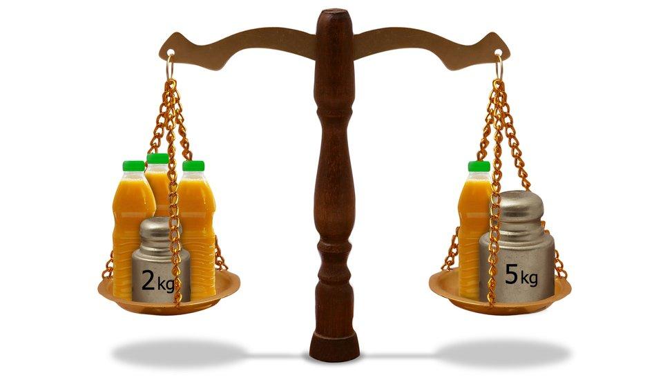 Rysunek wagi szalkowej. Na jednej szalce 3 butelki znapojami iodważnik 2 kg, na drugiej 1 butelka iodważnik 5 kg.
