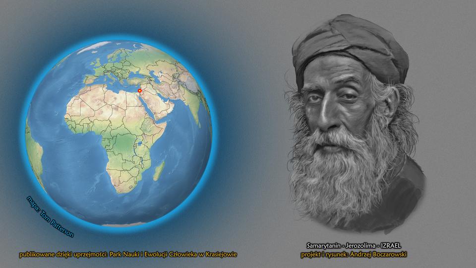Na ilustracji kula ziemska, punktem zaznaczony Izrael. Obok twarz mężczyzny zdługą siwą brodą. Na głowie ma turban. Podpis – Samarytanin.