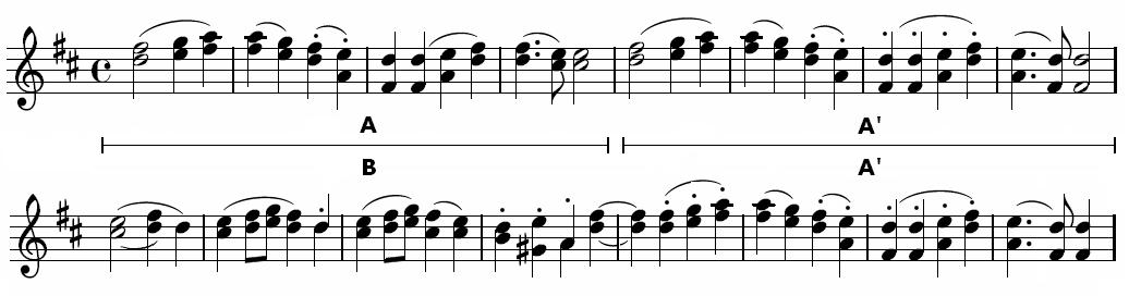Pierwsze takty muzyki Ody do radości autorstwa Ludwiga van Beethovena (partia oboju) Pierwsze takty muzyki Ody do radości autorstwa Ludwiga van Beethovena (partia oboju) Źródło: domena publiczna.