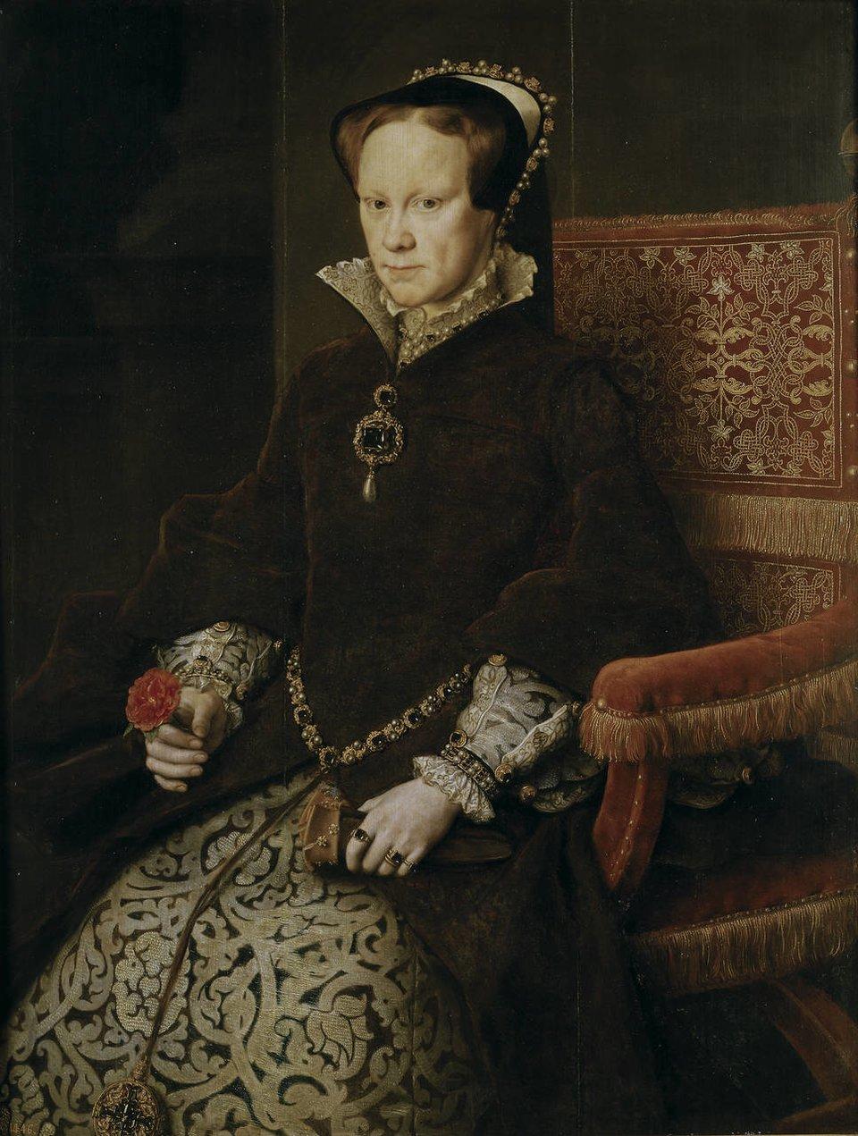 PortretMarii I, królowej Anglii PortretMarii I, królowej Anglii Źródło: Antonis Mor, 1554, olej na drewnie, El Museo Nacional del Prado, domena publiczna.