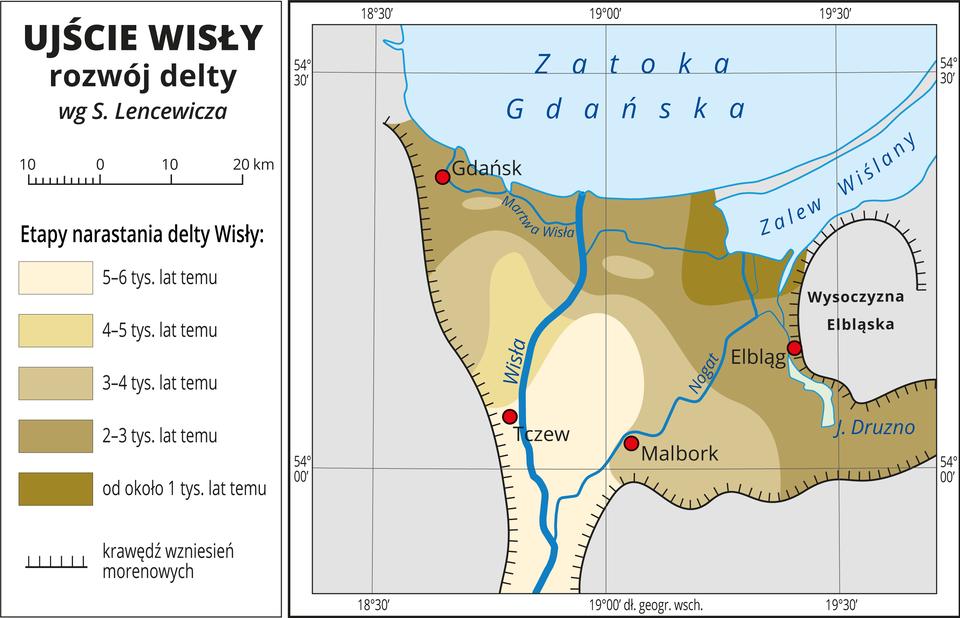 Ilustracja przedstawia mapę ujścia Wisły – stożek napływowy rozszerzający się ku północy. Opisano Wisłę ijej największe odgałęzienie – Nogat oraz Martwą Wisłę. Czerwonymi kropkami oznaczono Gdańsk, Elbląg, Malbork iTczew. Czarną linią zpoprzecznym kreskowaniem oznaczono krawędź wzniesień morenowych stanowiących granicę stożka napływowego Wisły od południa, zachodu iwschodu. Kolorem niebieskim zaznaczono Zatokę Gdańską iZalew Wiślany iopisano je. Odcieniami koloru beżowego przedstawiono etapy narastania delty Wisły zpodziałem na przedziały czasu obejmujące tysiąc lat. Takich przedziałów jest pięć. Kolorem najjaśniejszym oznaczono osady naniesione przez Wisłę pięć do sześciu tysięcy lat temu, obszar ten znajduje się na dole mapy iobejmuje miejsce, wktórym Nogat odgałęzia się od Wisły, kolorami ciemniejszymi przedstawiono kolejno naniesione osady, wgórę mapy obszary są coraz ciemniejsze. Kolorem najciemniejszym oznaczono osady naniesione około jednego tysiąca lat temu, obszar ten obejmuje tereny położone nad Zalewem Wiślanym. Mapa zawiera południki irównoleżniki, dookoła mapy wbiałej ramce opisano współrzędne geograficzne co pół stopnia. Wlegendzie zlewej strony mapy objaśniono kolory użyte na mapie.
