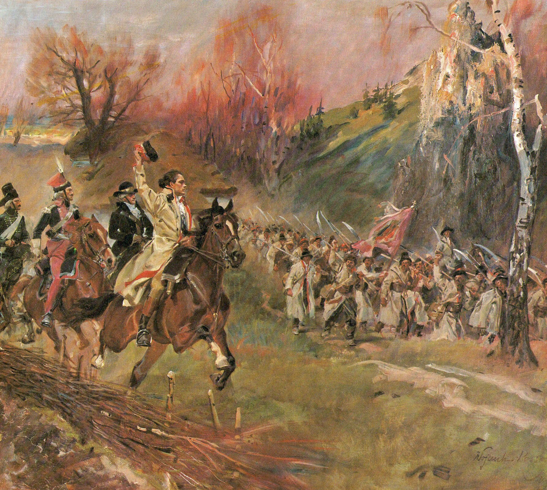 Zdjęcie przedstawia obraz ukazujący Tadeusza Kościuszkę zkosynierami. Mężczyźni jadą konno.