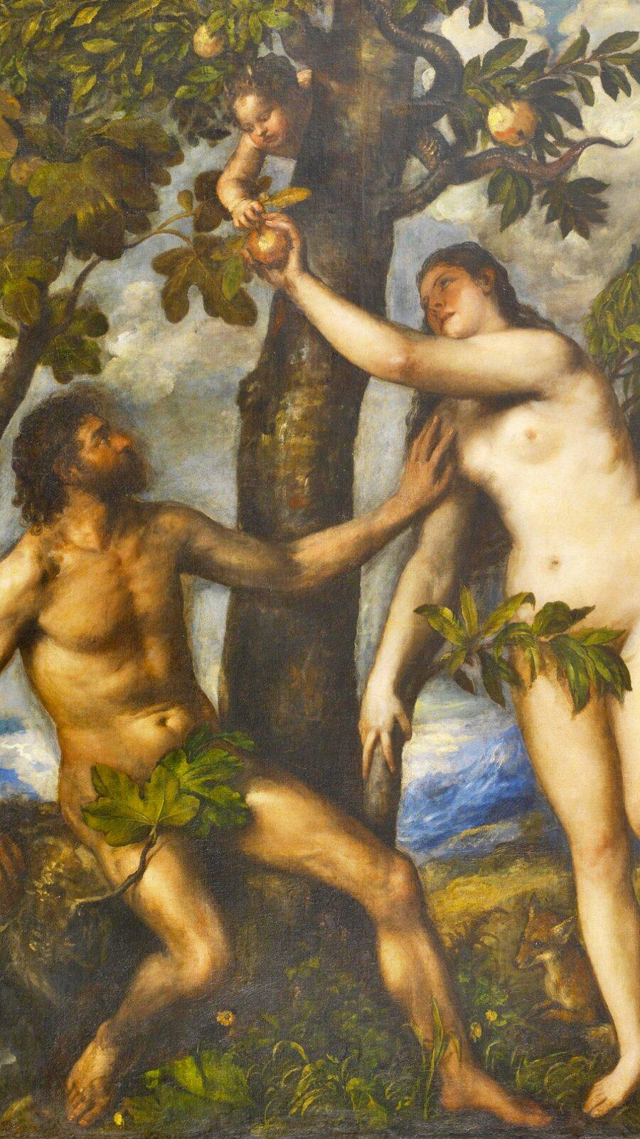 """Obraz pt. """"Grzech pierworodny"""" przedstawia Adama iEwę wmomencie popełniania grzechu pierworodnego. Ewa zrywa zdrzewa jabłko. Są nadzy."""