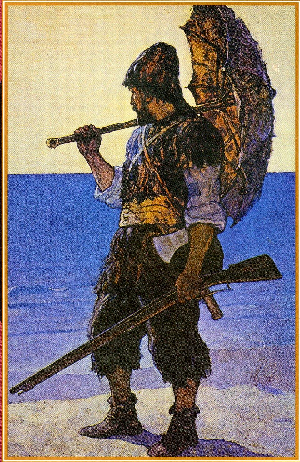 Ilustracja zangielskiej edycji Robinsona Crusoe z1920 roku Ilustracja zangielskiej edycji Robinsona Crusoe z1920 roku Źródło: domena publiczna.