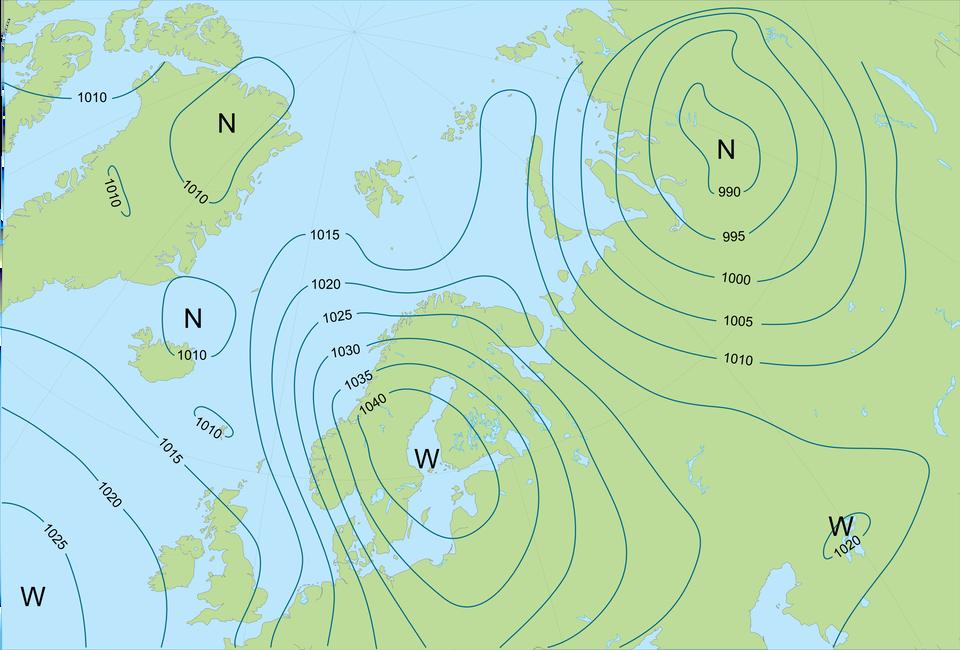 Ilustracja przedstawia mapę północnych krańców Europy iAzji oraz Grenlandię. Lądy zaznaczone kolorem zielonym. Morza zaznaczone kolorem niebieskim. Literami en zaznaczone trzy ośrodki niżowe wgórnej części mapy. Literami wu zaznaczone trzy ośrodki wyżowe wdolnej części mapy. Wokół każdego ośrodka poprowadzono linie. Te linie to izobary. Każdą izobarę opisano liczbą. Ich wartości rosną wkierunku ośrodków wyżowych, amaleją wkierunku ośrodków niżowych. Minimalna wartość izobary to dziewięćset dziewięćdziesiąt. Maksymalna wartość izobary to tysiąc czterdzieści.