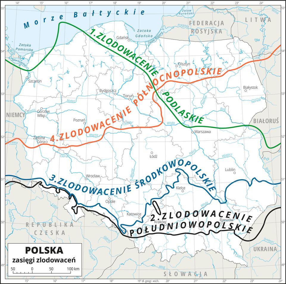 Ilustracja przedstawia konturową mapę Polski zpodziałem na województwa. Na mapie przedstawiono granice województw, przedstawiono iopisano hydrografię oraz miasta wojewódzkie. Kolorowymi liniami przedstawiono zasięg czterech zlodowaceń. Jeden – zlodowacenie podlaskie – zielona linia biegnie zpółnocnego zachodu na środkowy wschód. Dwa – zlodowacenie południowopolskie – czarna linie biegnie równoleżnikowo na południu Polski wzdłuż Przedgórza Sudeckiego iPogórza Karpackiego. Trzy – zlodowacenie środkowopolskie – niebieska linia biegnie zzachodu na wschód najpierw wzdłuż Przedgórza Sudeckiego, następnie skręca na północ ponad Kielce, potem kieruje się na południe ku ujściu Sanu do Wisły ipotem kieruje się na wschód. Cztery – zlodowacenie północnopolskie – czerwona linia biegnie zokolic Zielonej Góry zzachodu na wschód, na wysokości Niziny Mazowieckiej kierując się ku północy. Dookoła mapy wbiałej ramce opisano współrzędne geograficzne co jeden stopień.