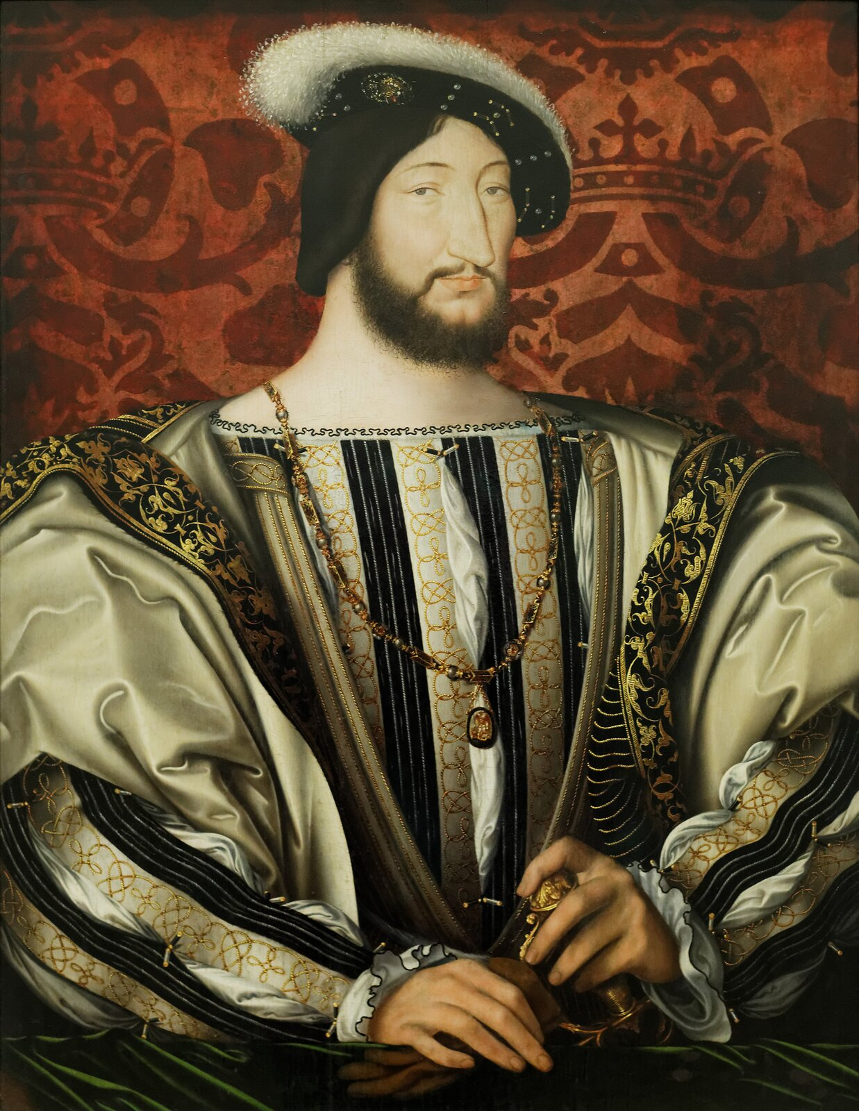 Franciszek I, król Francji Źródło: Jean Clouet, Franciszek I, król Francji, 1530, olej na dębie, Luwr, domena publiczna.