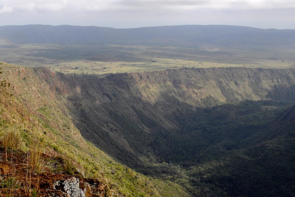 Zdjęcie przedstawia dolinę ryftową we wschodniej Afryce. Na pierwszym planie dolina, dalej uskok. Na dalszym planie rozległa równina, wtle góry. Cały teren porośnięty trawą.