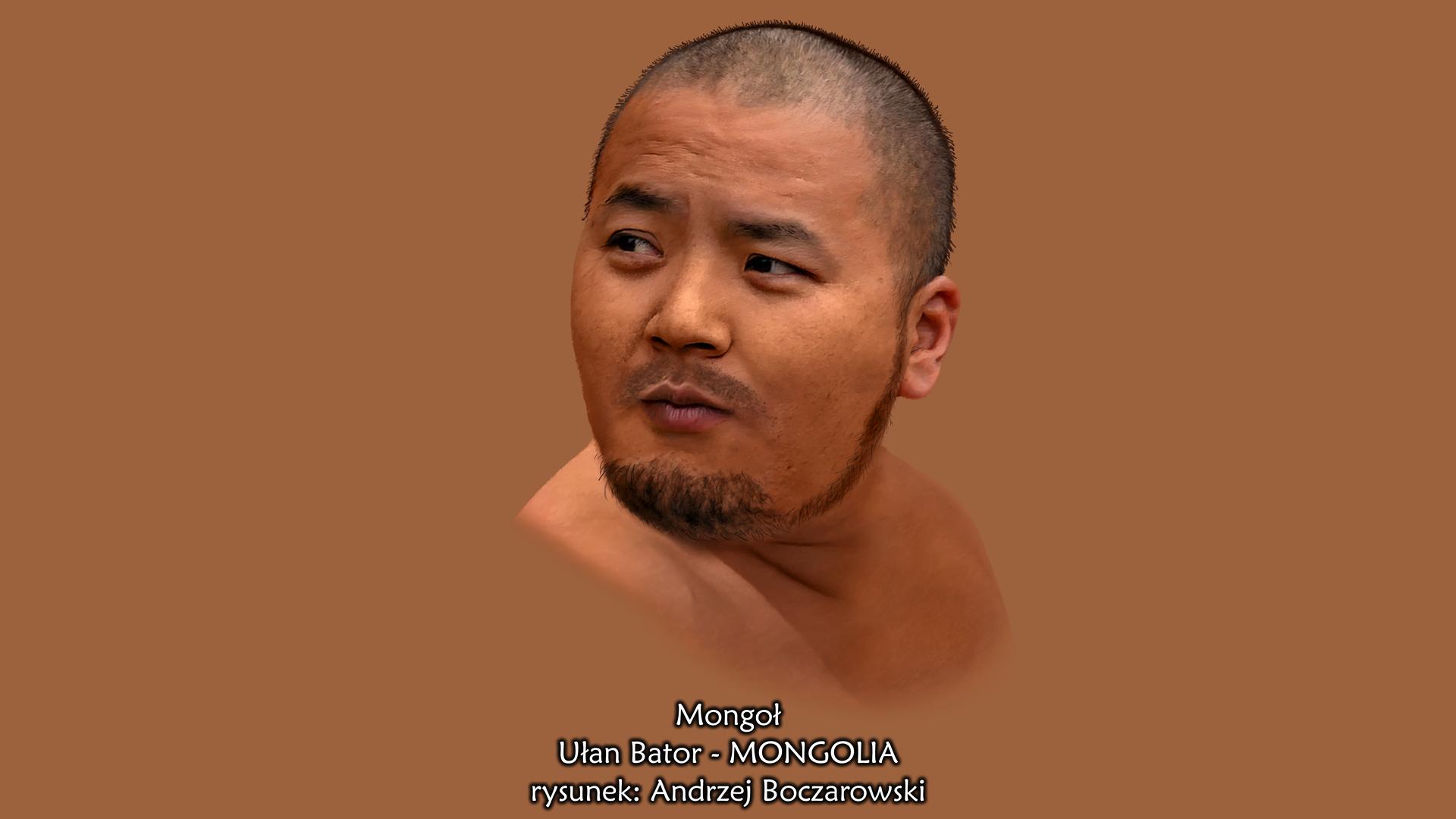 Druga fotografia przedstawia portret mongolskiego mężczyzny. Mężczyzna ma owalną płaską twarz, niskie czoło, niewielką szparę oczną, mały nos iśniadą skórę. Czarne krótko ostrzyżone włosy oraz krótką brodę iwąsy nad wargą.