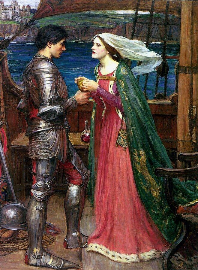 Obraz przedstawia kobietę imężczyznę na statku. Stoją naprzeciwko siebie. Kobieta podaje mężczyźnie złoty puchar. Mężczyzna jest wrycerskiej zbroi. Jego hełm leży na linach na pokładzie statku. Kobieta ma na sobie długą suknię, pelerynę izwiewną tkaninę na włosach. Wtle widać morze, skalisty morski brzeg izabudowę miasta.