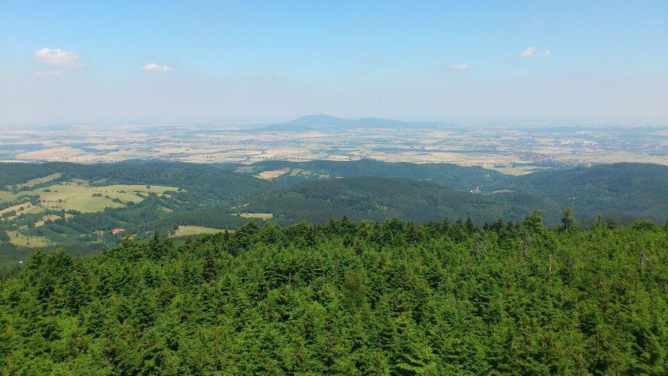 Na zdjęciu płaski teren porośnięty lasem, na krawędzi lasu znaczny uskok, wdole rozległa równina, wtle góry.