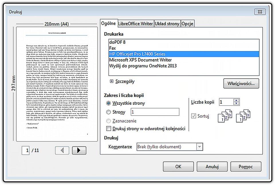 Slajd 2 galerii: Drukowanie wybranych stron wprogramie LibreOffice Writer