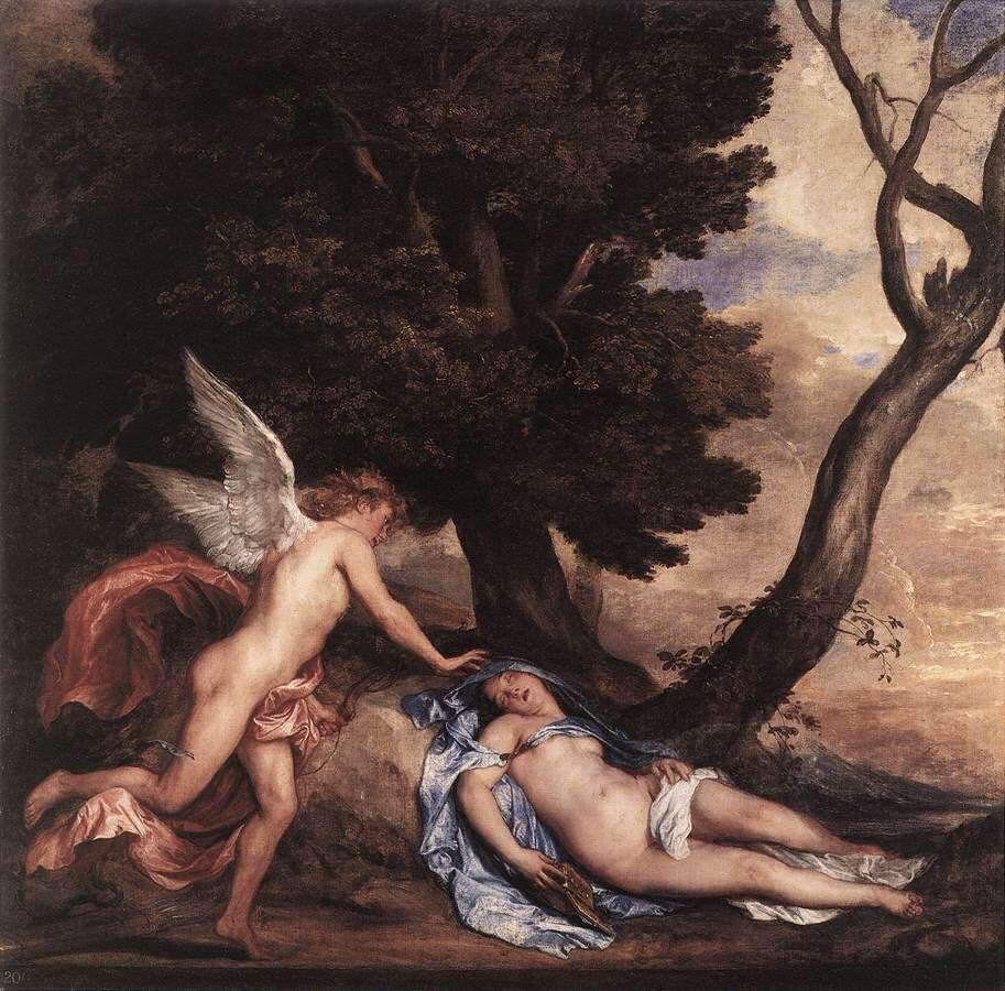 Obraz przedstawia dwie postacie wlesie. Jedną znich jest kobieta, półnaga leży pod drzewem zzamkniętymi oczyma. Nad nią pochyla się półnagi młodzieniec, który ma skrzydła. To kupidyn. Wyciąga dłoń wkierunku śpiącej kobiety.