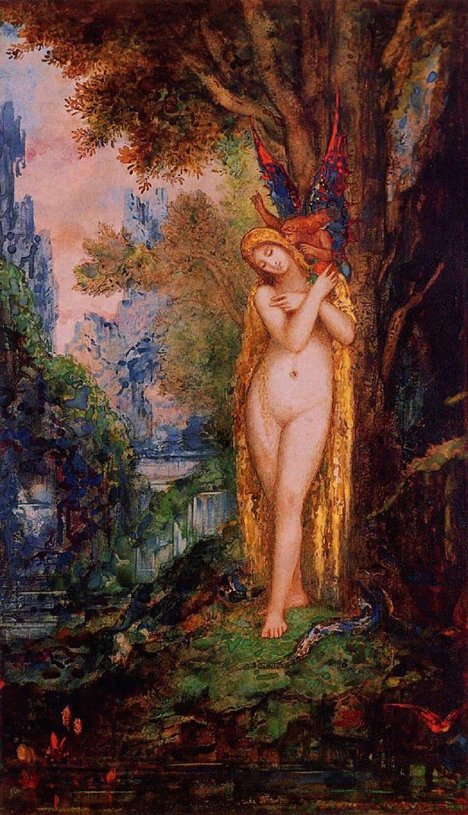 """Ilustracja przedstawia dzieło Gustave'a Moreau """"Ewa"""". Ukazuje kobiecą nagą postać, opierającą się odrzewo. Jej ręce skrzyżowane są na piersi. Na jej twarzy pojawia się delikatny uśmiech. Na prawym ramieniu siedzi uskrzydlony demon, szepczący jej do ucha. Włosy kobiety swobodnie opadają. Wokół drzewa wije się wąż. Tło stanowią szmaragdowe zielenie ijasne, szafirowe błękity. Dzieło charakteryzują żywe, wystawne kolory, delikatność iszczegółowość."""