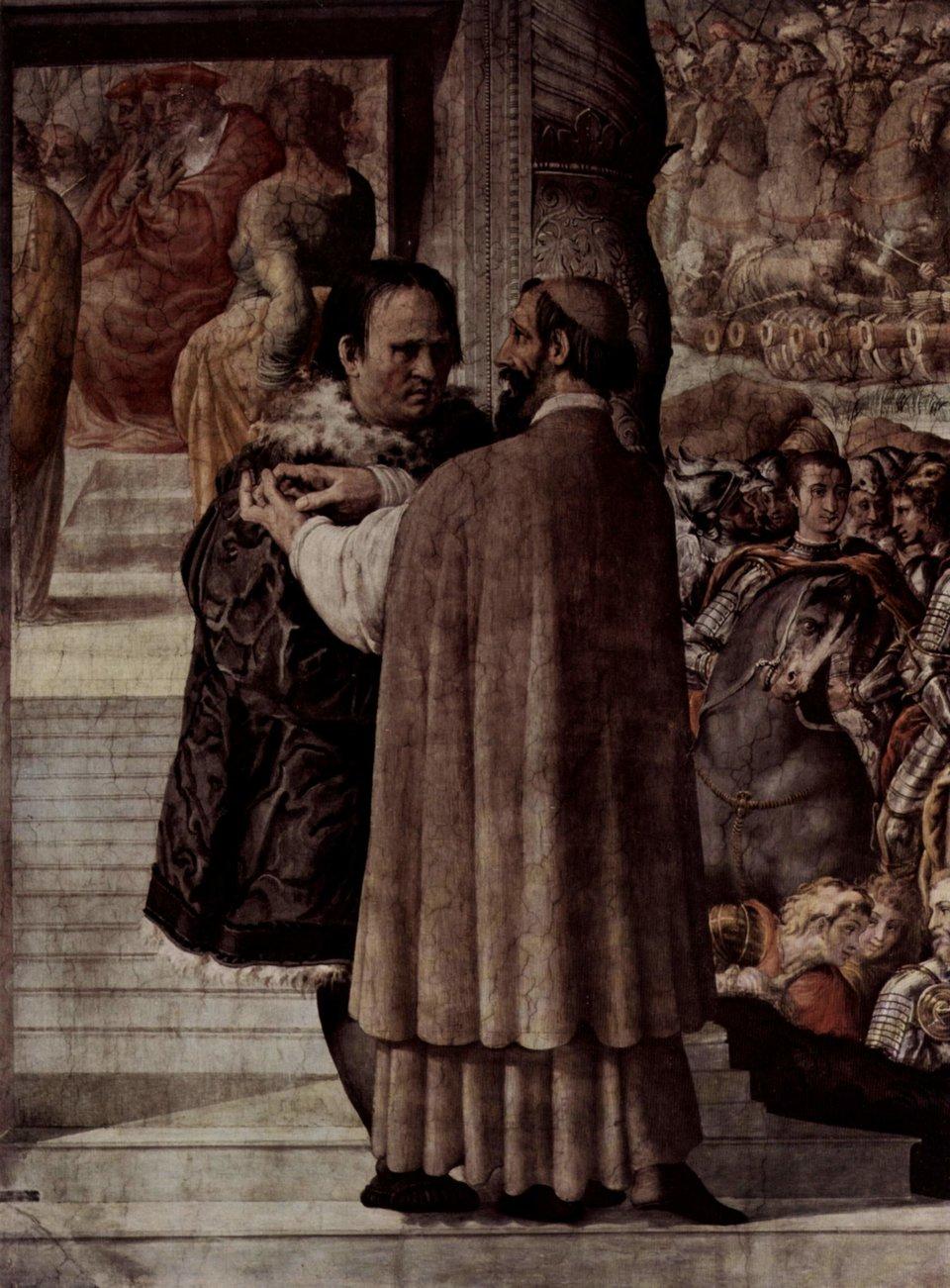 """Kardynał Kejetan – fresk wsłynnym renesansowym """"Palazzo Farnese"""". Kardynał dyskutuje zMarcinem Lutrem Źródło: Francesco de' Rossi, Kardynał Kejetan – fresk wsłynnym renesansowym """"Palazzo Farnese"""". Kardynał dyskutuje zMarcinem Lutrem, ok. 1550-1560, fresk, Palazzo Farnese, Roma, domena publiczna."""