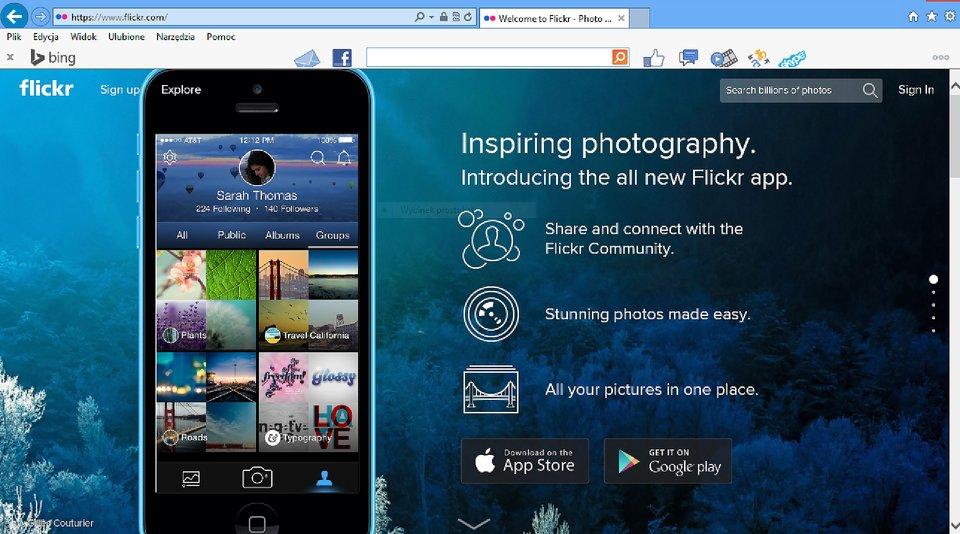 Zrzut okna strony http://www.flickr.com