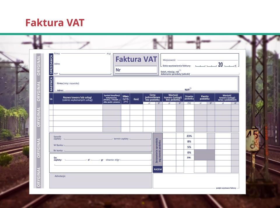 Ilustracja przedstawia fakturę VAT