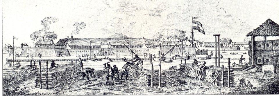 Holenderska kolonia wtle Batawia (obecnie Dżakarta) Holenderska kolonia wtle Batawia (obecnie Dżakarta) Źródło: Milgesch, domena publiczna.
