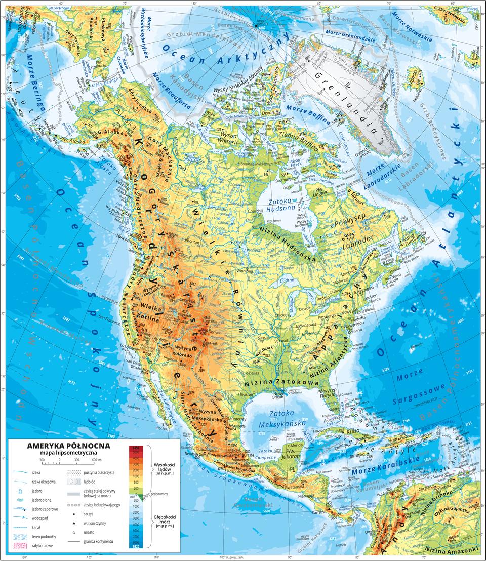 Ilustracja przedstawia mapę hipsometryczną Ameryki Południowej. Wobrębie lądów występują obszary wkolorze zielonym, żółtym, pomarańczowym iczerwonym. Na zachodnim wybrzeżu dominują pasma górskie oprzebiegu południkowym. Niziny wzdłuż północnych iwschodnich wybrzeży. Morza zaznaczono kolorem niebieskim. Na mapie opisano nazwy półwyspów, wysp, nizin, wyżyn ipasm górskich, mórz, zatok, rzek ijezior. Oznaczono iopisano główne miasta. Oznaczono czarnymi kropkami iopisano szczyty górskie. Trójkątami oznaczono czynne wulkany ipodano ich nazwy iwysokości. Mapa pokryta jest równoleżnikami ipołudnikami. Dookoła mapy wbiałej ramce opisano współrzędne geograficzne co dziesięć stopni. Wlegendzie umieszczono iopisano znaki użyte na mapie.