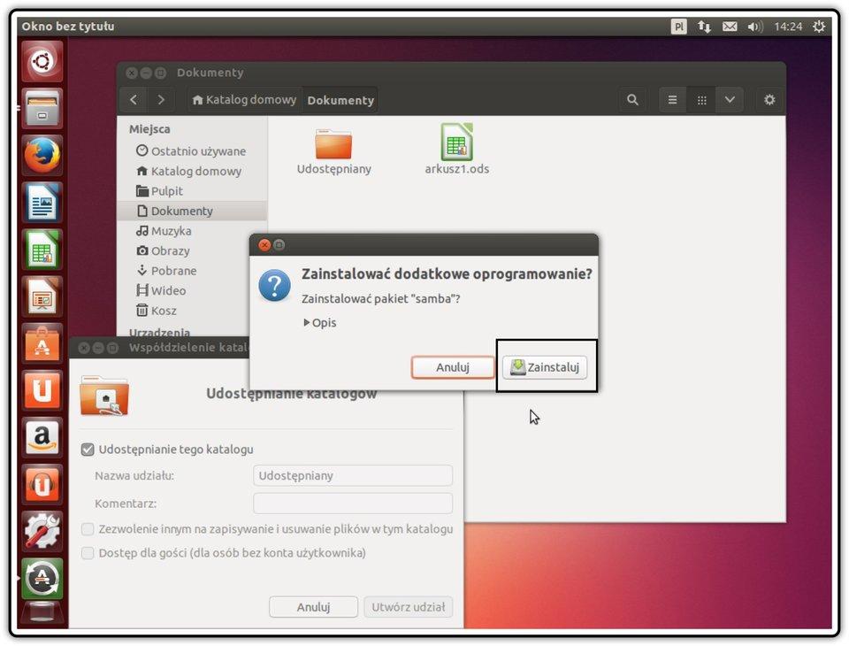 Ilustracja przedstawiająca: Krok 4 udostępniania zasobów wsystemie Linux Ubuntu