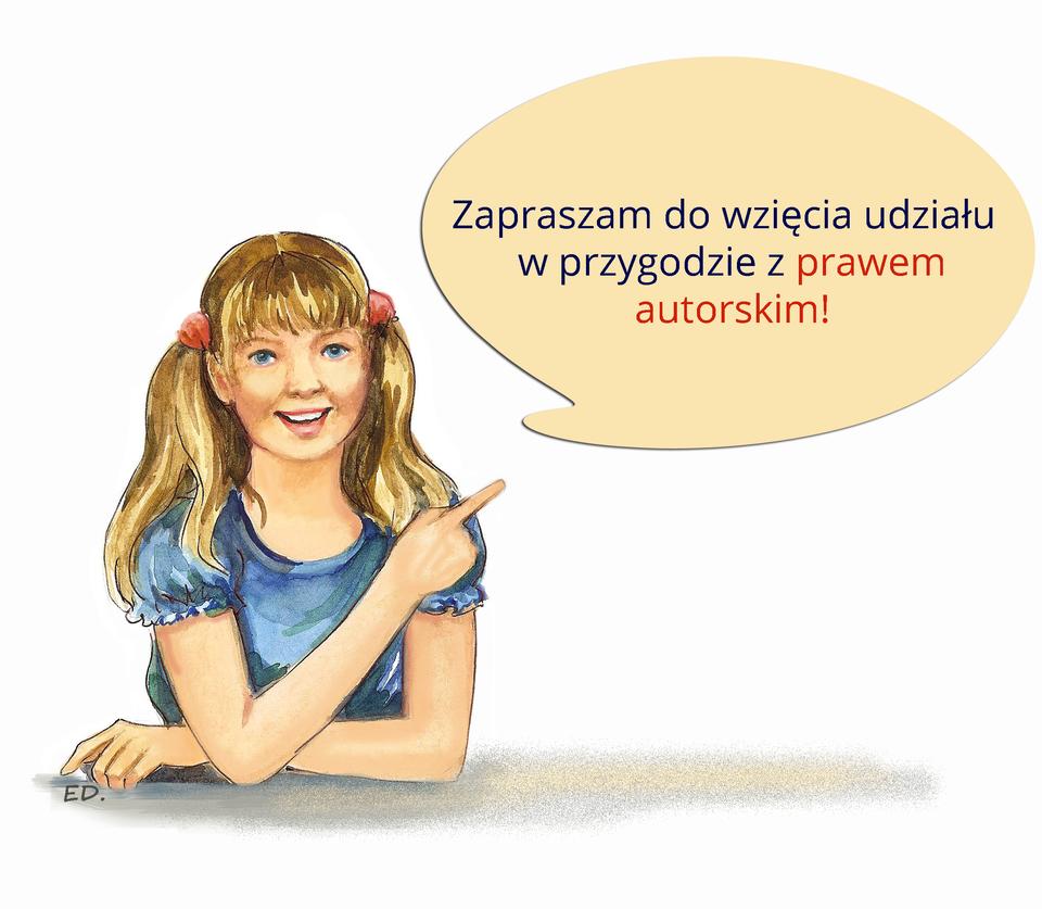 Ilustracja przedstawiająca dziewczynkę zaproszającą do zapoznania się zprawem autorskim