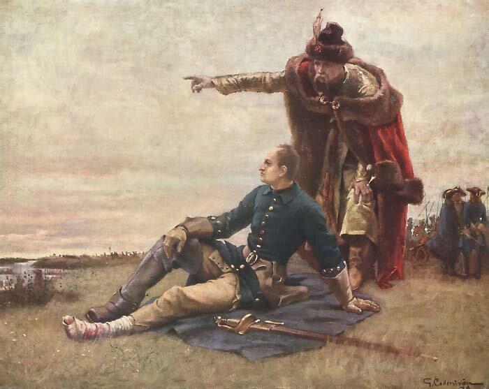Karol XII iIwan Mazepa Karol XII podczas bitwy pod Połtawą. Zpowodu rannej nogi nie brałudziału wwalce – tu obserwuje bitwę zhetmanem Mazepą. Źródło: Gustaf Cederström, Karol XII iIwan Mazepa, domena publiczna.