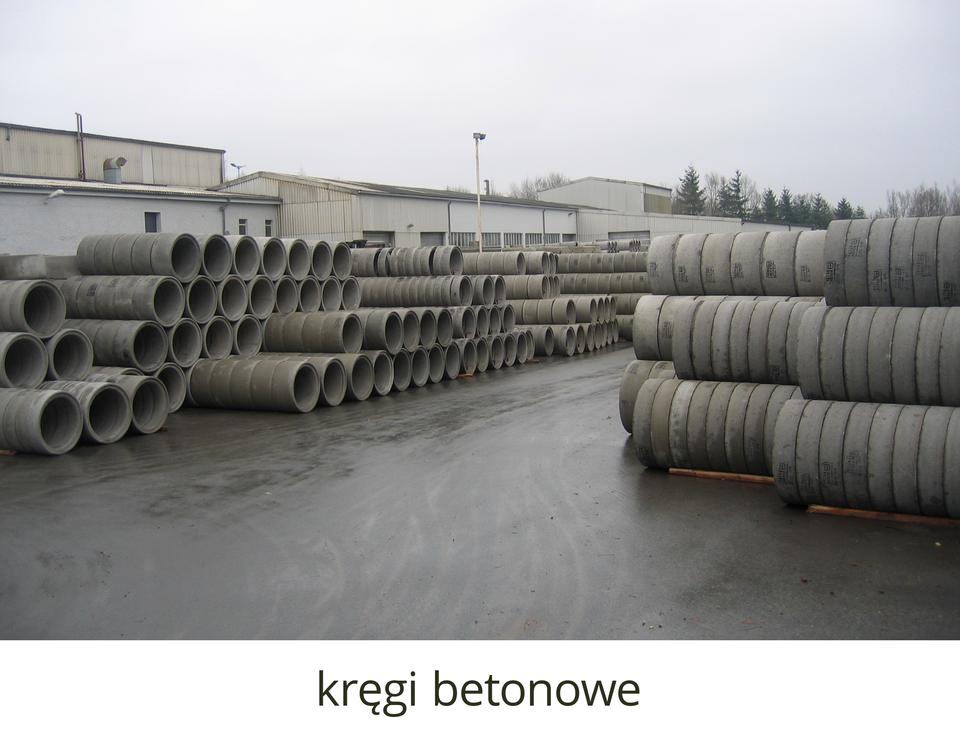 Kręgi betonowe używane do konstruowania kanalizacji ułożone wrzędach na placu magazynowym.