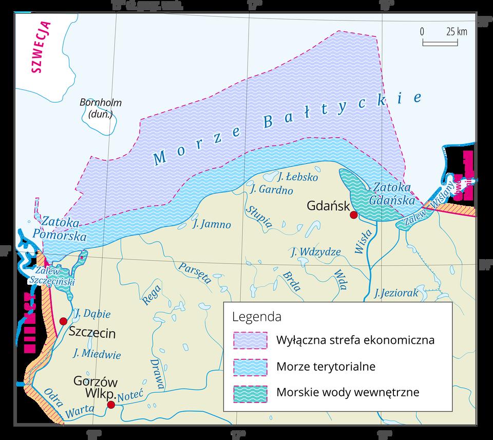 Na mapie fragment obszaru Polski – wybrzeże. Kolorowymi pasami oznaczono zasięg morskich wód wewnętrznych, terytorialnych iwyłącznej strefy ekonomicznej.