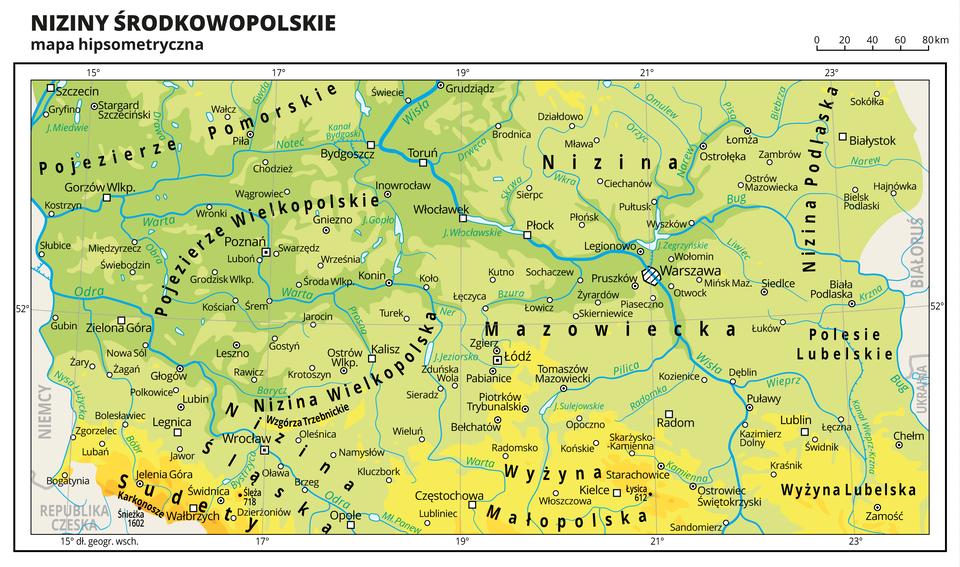 Ilustracja przedstawia mapę hipsometryczną Nizin Środkowopolskich. Na mapie dominuje kolor zielony oznaczający niziny iżółty – oznaczający wyżyny. Oznaczono iopisano miasta, rzeki, jeziora iszczyty. Opisano pojezierza, niziny, wyżyny, góry iinne krainy geograficzne oraz państwa sąsiadujące zPolską. Dookoła mapy wbiałej ramce opisano współrzędne geograficzne co dwa stopnie.