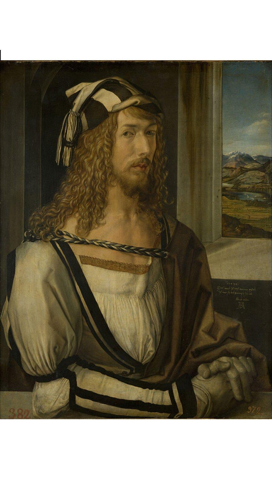 Obraz przedstawia popiersie mężczyzny ztwarzą ukazaną en trois quarts, czyli wtrzech czwartych. Przez okno, przy którym siedzi, widać pejzaż.