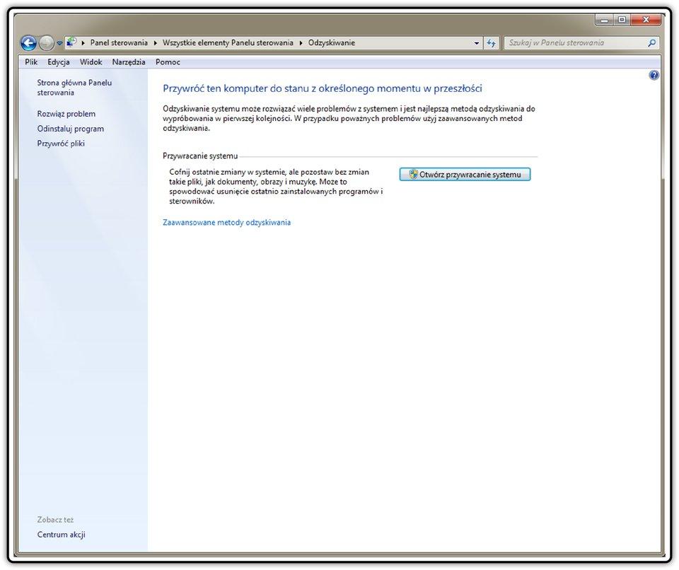 Zrzut okna: Odzyskiwanie wsystemie operacyjnym Windows