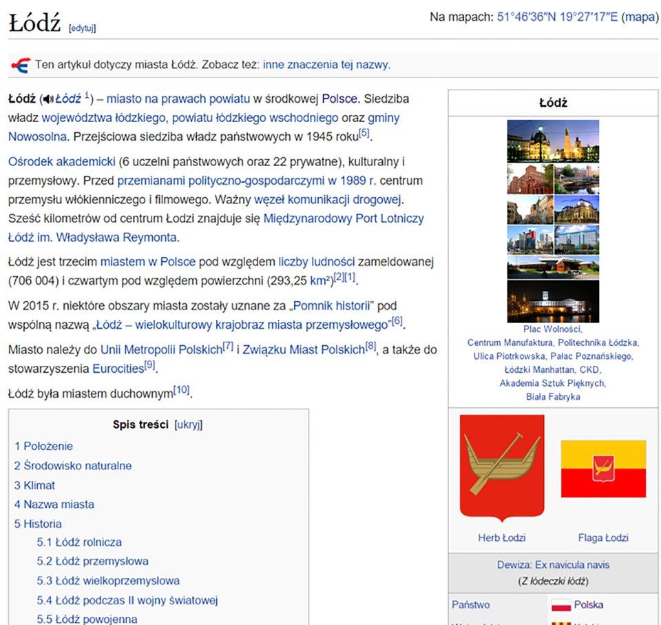 Widok strony internetowej zinformacjami na temat miasta Łodzi