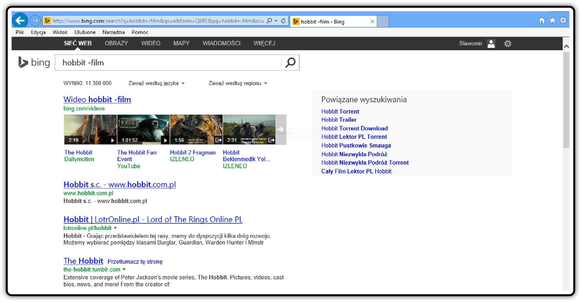 Zrzut okna wyszukiwarki Bing zwpisanym wyrazami zwykorzystaniem znaku: Minus