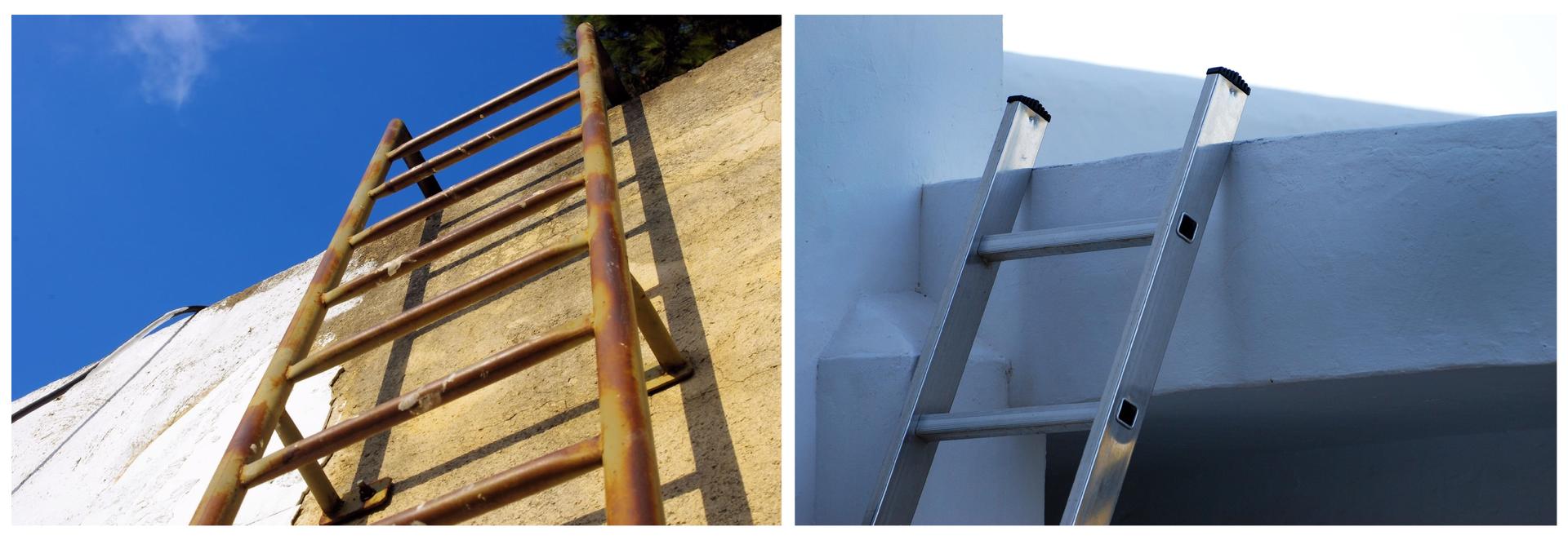 Na ilustracji znajdują się dwa ułożone obok siebie zdjęcia przedstawiające drabiny. Lewe przedstawia zardzewiałą drabinę żelazną przytwierdzoną na stałe do fasady budynku, natomiast prawe błyszczącą igładką drabinę aluminiową opartą omur.