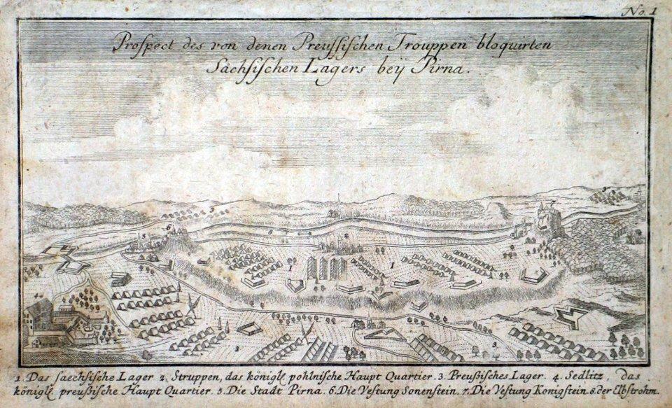 Plan oblężenia wojsk saskichwtwierdzy Pirna w1756 r. Plan oblężenia wojsk saskichwtwierdzy Pirna w1756 r. Źródło: 1758, domena publiczna.