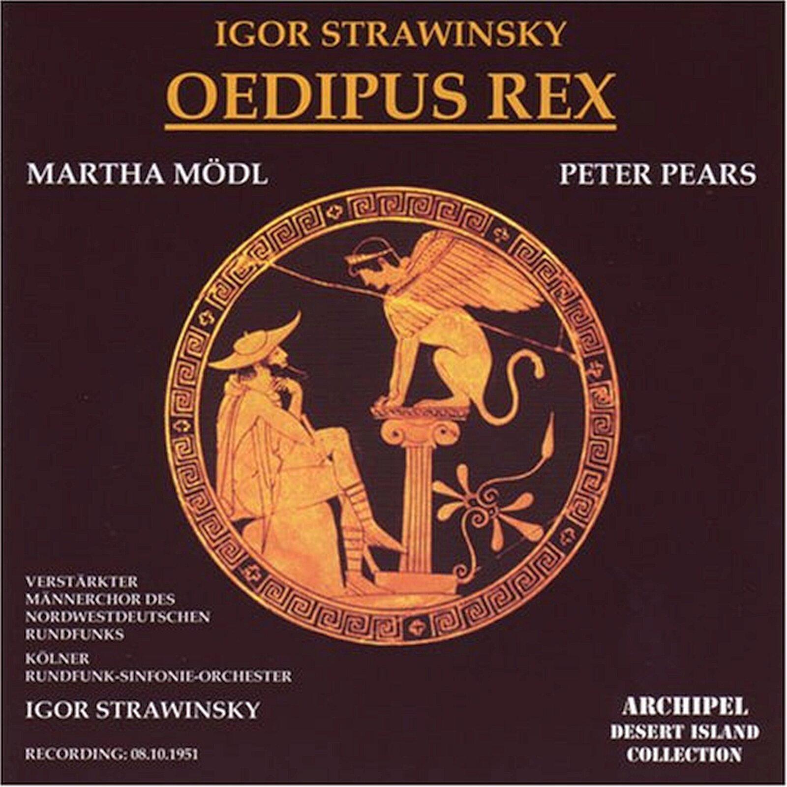 lustracja przedstawia okładkę albumu muzycznego Igora Stravinskiego pod tytułem Oedipus Rex. Okładka jest koloru brązowego izawiera rysunek, który przedstawia Edypa ze Sfinksem.
