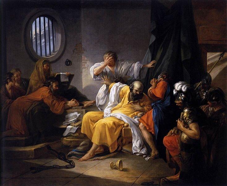 Śmierć Sokratesa Źródło: Jacques-Philip-Joseph de Saint-Quentin, Śmierć Sokratesa, 1762, olej na płótnie, École nationale supérieure des Beaux-Arts, domena publiczna.