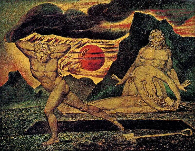 Ciało Abla znalezione przez Adama iEwę Źródło: William Blake, Ciało Abla znalezione przez Adama iEwę, 1826, domena publiczna.