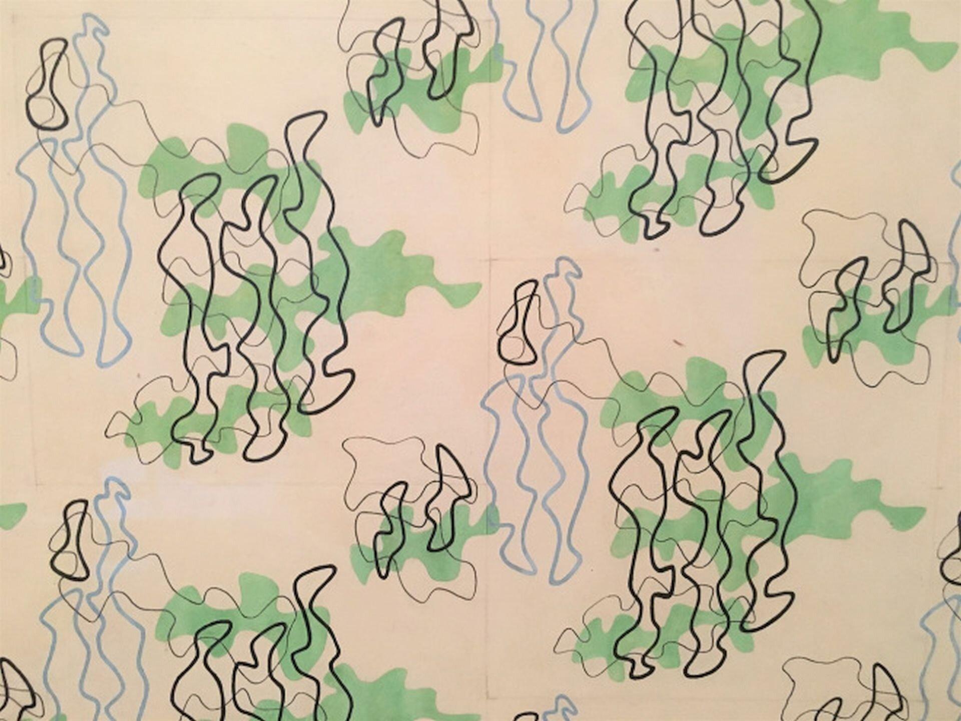 Ilustracja przedstawia projekt tkaniny odzieżowej autorstwa Władysława Strzemińskiego. Jest to jasna tkanina, na której są narysowane wzory. Są to nieregularne figury przypominające jeziora zaznaczane na mapach. Figury te nachodzą na siebie, aobrys ich jest wkolorach niebieskim, czarnym, brązowym izielonym.