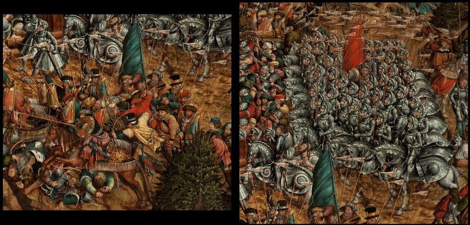 Bitwa pod Orszą - detal Bitwa pod Orszą - wojska polsko-litewskie: po lewej stronie - lekka jazda, po prawej - oddział ciężkozbrojnych kopijników. Źródło: artysta nieznany, Bitwa pod Orszą - detal, między 1525-1540, tempera na dębowej desce, Muzeum Narodowe wWarszawie, domena publiczna.