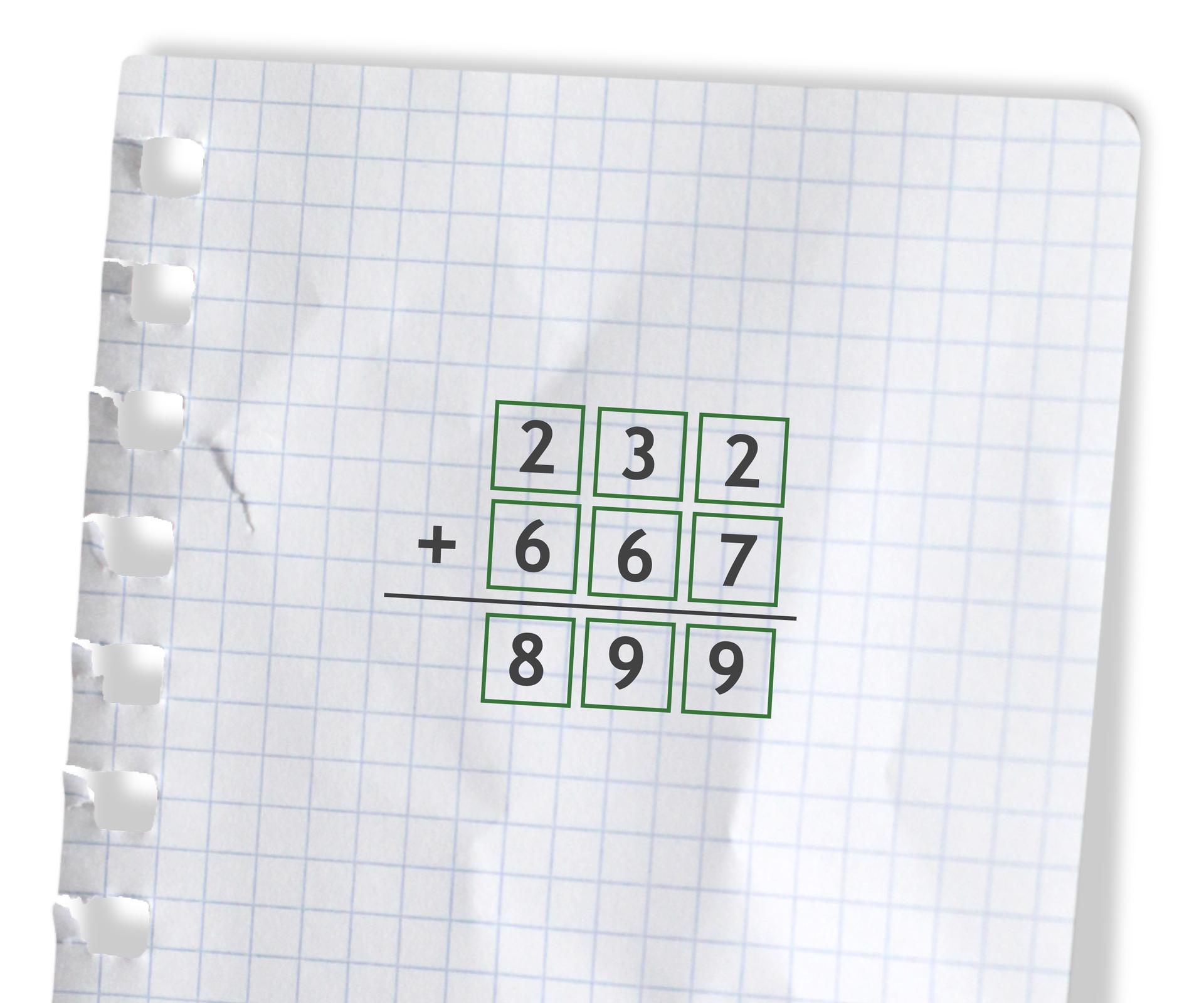 Przykład: 232 +667 =899. Rozwiązanie zadania podpunkt e.